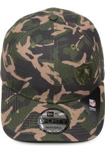 Boné New Era Snapback 940 Military Division Oakland Raiders Verde Marrom 874df0c7a38