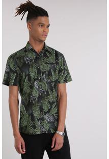 CEA. Camisa Masculina Estampada De Folhagens Com ... 7961d0bd31