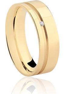 Aliança Noiva 6 Mm Ouro Champanhe E Diamante
