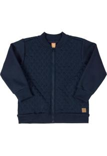 Jaqueta Em Tecido Matelassê Azul