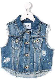 Msgm Kids Jaqueta Jeans Estampada - Azul