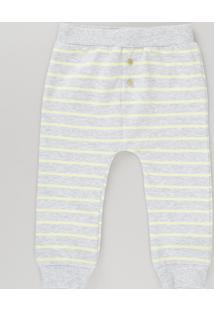Calça Listrada Em Moletom De Algodão + Sustentável Cinza Mescla