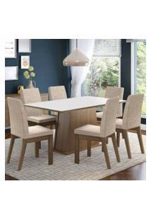 Conjunto Sala De Jantar Madesa Rebeca Mesa Tampo De Madeira Com 6 Cadeiras Rustic/Branco/Fendi