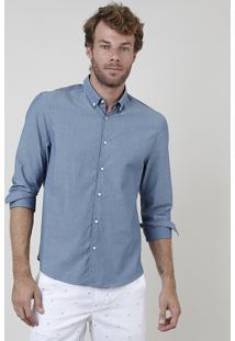 Camisa Masculina Comfort Fit Estampado Floral Manga Longa Azul