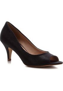 Peep Toe Shoestock Noiva Tecido Cristais - Feminino-Preto