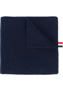 Thom Browne Cachecol De Cashmere Com Listras - Azul