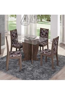 Conjunto De Mesa Luana Com 4 Cadeiras Livia Marrocos E Floral Bordo