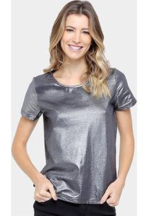 Camiseta Colcci Metalizada Feminina - Feminino-Prata