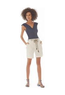 Shorts Alfaiataria Barra Italiana Off White 38