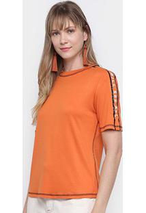 Camiseta Morena Rosa Faixa Lateral Feminina - Feminino-Laranja