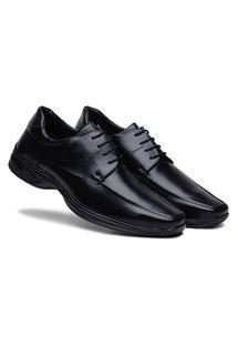 Sapato Social Masculino Antistress Confortável Ajuste Amarrar - Preto