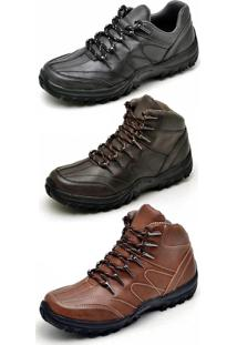 Bota Kit 3 Pares Adventure Dexshoes Marrom/Caramelo/Preto