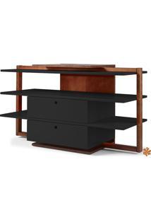 Rack Tv Com Prateleiras E 2 Gavetas De Madeira Laqueada Colorido Moderno Easy 871-0276 - 130X43X79Cm