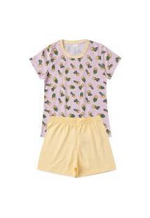 Pijama Infantil Vasinhos Cactos Amarelo/Rosa 924 - Kappes
