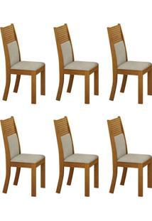 Conjunto Com 6 Cadeiras Havaí Imbuia E Metalacê
