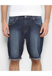 Bermuda Jeans Calvin Klein Estonada Masculina - Masculino-Azul