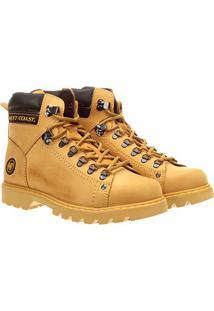 Bota Couro West Coast Worker Tratorada Masculina - Masculino-Amarelo