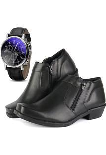 Bota Social Com Relógio Cr Shoes Com Ziper R14000M Preto