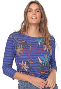 Camiseta Cantão Floral Listras Azul