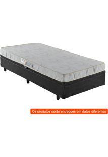 Cama Box Basic Baú Com Colchão Solteiro Quality D23 Branco E Preta