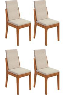 Conjunto Com 4 Cadeiras Lira L Rovere E Bege