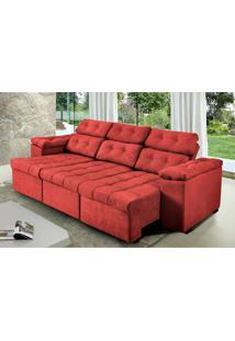 Sofa Itália 2,00 Mts Retrátil E Reclinavel Tecido Suede Vermelho - Cama Inbox
