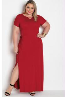 Vestido Longo Vermelho Plus Size Com Fenda
