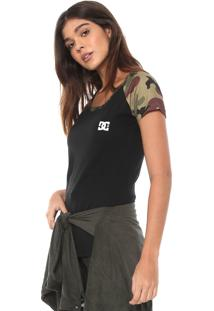 Camiseta Dc Shoes Raglan Militar Preta/Verde