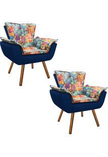 Kit 02 Poltrona Decorativa Opala Suede Composê Estampado Street D05 E Suede Azul Marinho - D'Rossi