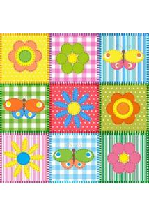 Papel De Parede Adesivo Borboleta E Flores Coloridas (0,58M X 2,50M)