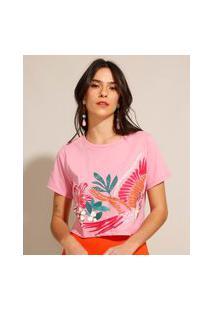 Camiseta Cropped De Algodão Folhagens Manga Curta Decote Redondo Rosa