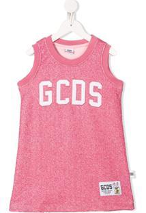 Gcds Kids Vestido De Jérsei Com Estampa De Logo - Rosa