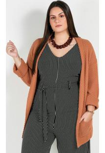 Casaco Tricot Plus Size Caramelo Aberto