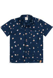 Camisa Menino Manga Curta Com Botões