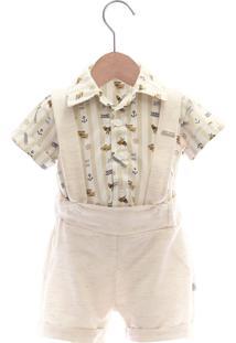 Conjunto Jardineira Camisa Beth Bebê Benício Luxo Cáqui