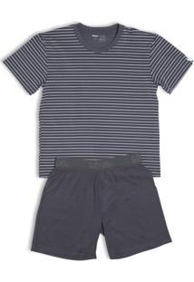 Conj. Pijama Modal Curto Infantil - Masculino-Cinza+Chumbo