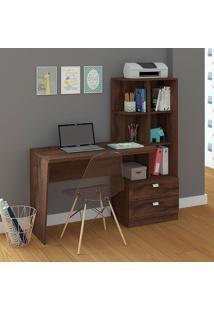 Mesa Para Computador Com 2 Gavetas E 5 Prateleiras Elisa – Permóbilili - Café