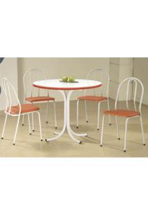 Conjunto De Mesa Com 4 Cadeiras Leila Branco E Laranja - Única