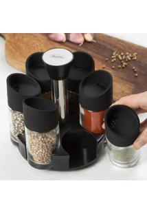 Porta Condimentos Com 6 Potes Prana - Unissex-Preto