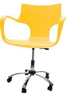 Cadeira Jim Base Giratoria Cromada Cor Amarelo - 22591 - Sun House