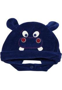 Touca Infantil Ano Zero Hipopótamo - Masculino-Azul Escuro
