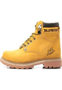 Bota Adventure Couro Trilhas E Caminhadas Trivalle Shoes Amarelo - Kanui