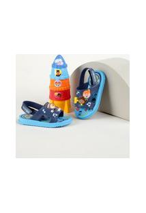 Sandália Infantil Grendene Mundo Bita Com Velcro Vem Com Foguete Azul Marinho