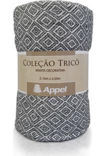 Manta Appel Tricô Decorativa P/ Cama E Sofá - Grafite Cru - Tricae