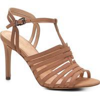 869db1d9264e5 Sandália Couro Shoestock Salto Fino Tirinhas Feminina - Feminino-Nude