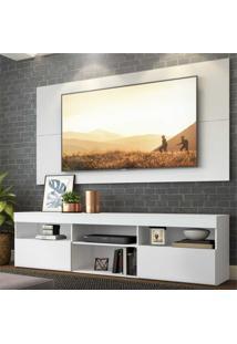 """Rack Com Painel E Suporte Para Tv Atã© 65"""" Flã³Rida Multimã³Veis Branco - Branco/Incolor - Dafiti"""