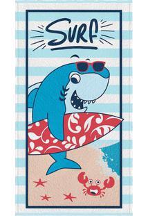 Toalha De Banho Felpuda Tubarão- Azul Claro Vermelhablepper