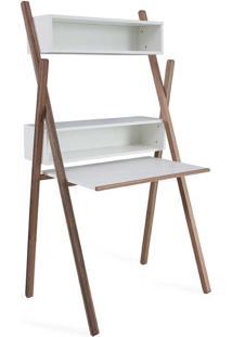 Mesa De Computador Escrivaninha Pequena Com Estante E Nichos Mdf Branca Com Madeira Maciça Cor Nogueira Sue Woodinn - 87X62X158 Cm