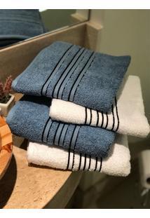 Jogo 4 Peças Toalhas Banho E Rosto Fj4181 - Branco E Azul