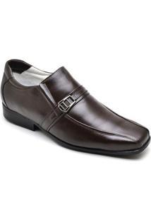 Sapato Social Masculino Couro Elástico Recortes Dia A Dia - Masculino